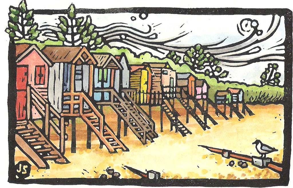 Beach huts and seagull